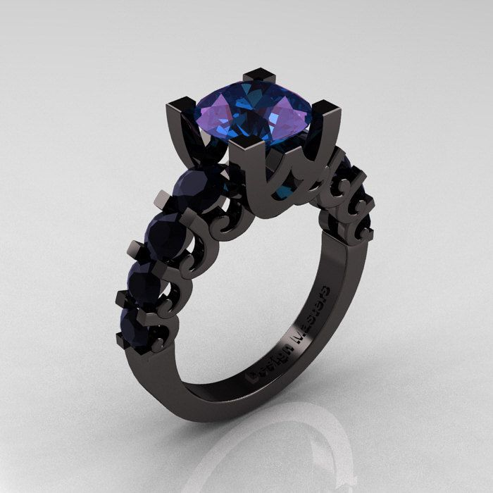 Modern Vintage 14K Black Gold 3.0 Carat Alexandrite Black DIamond Designer Wedding Ring R142-14KBGBDAL. $2,449.00, via Etsy.