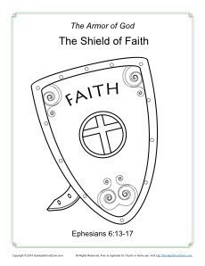 Shield of Faith Coloring Page - Armor of God for Kids Activities ...