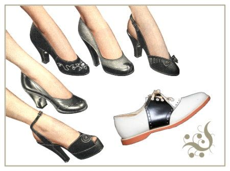 Black and white footwear was common in the 50's, especially the