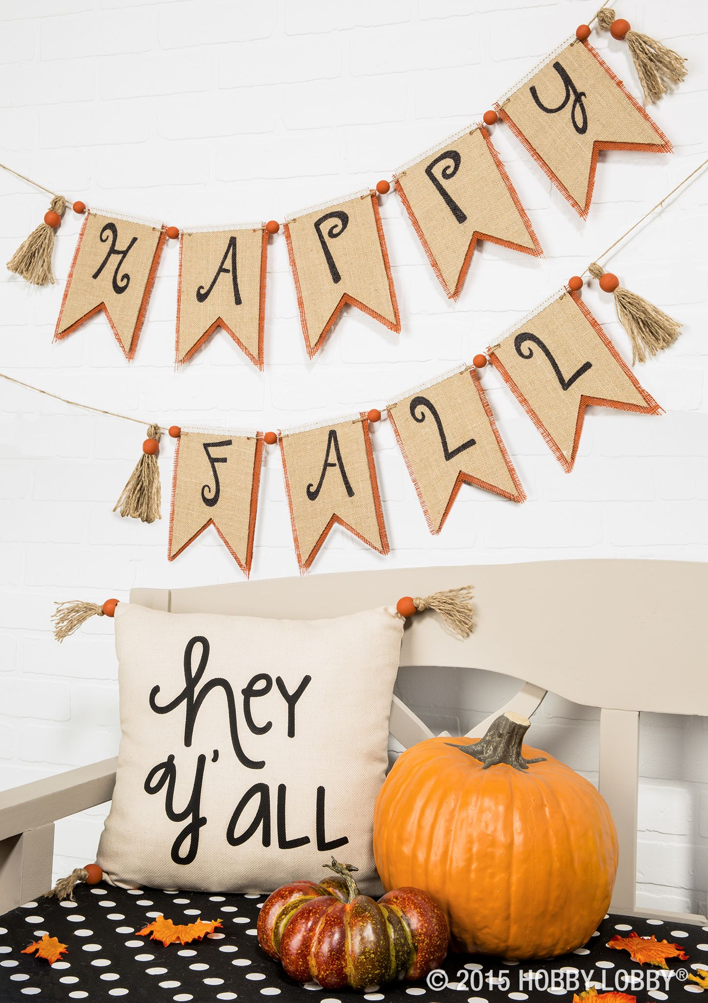 happy fall y all welcome fall with a burlap banner pretty tassels