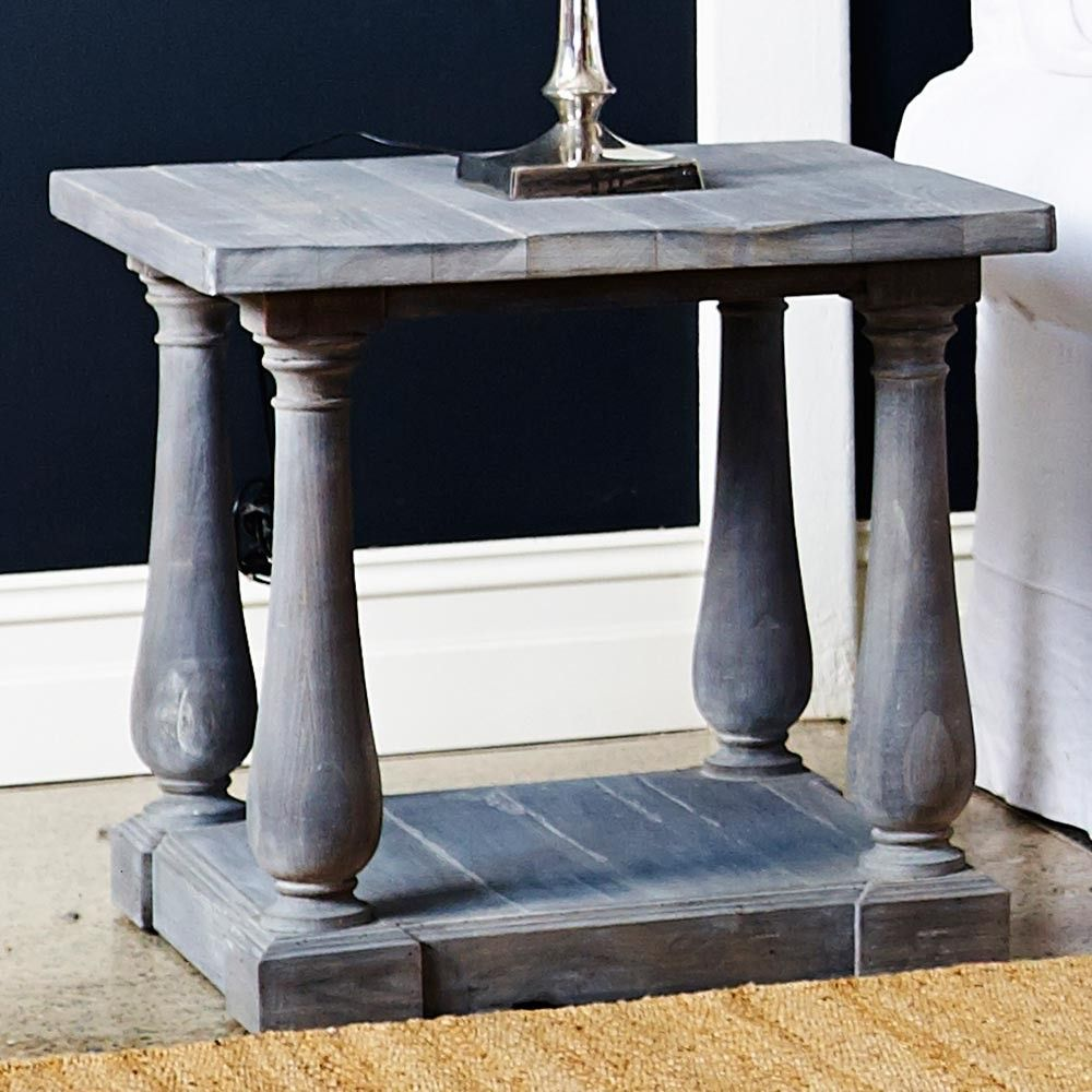 Louis XV Avignon Side Table Cloudy Grey Lime Wash Finish   French Country  Furniture