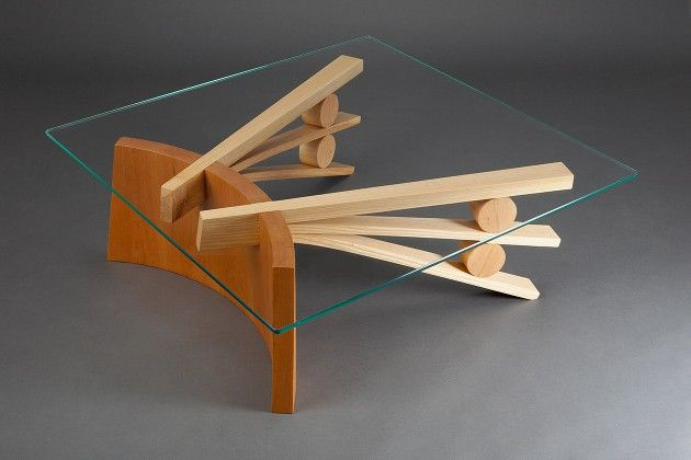 Square Gl Top Coffee Table With Curved Wood Base Made From Coopered Cherry And Bent Ash By Seth Rolland Custom Furniture Design