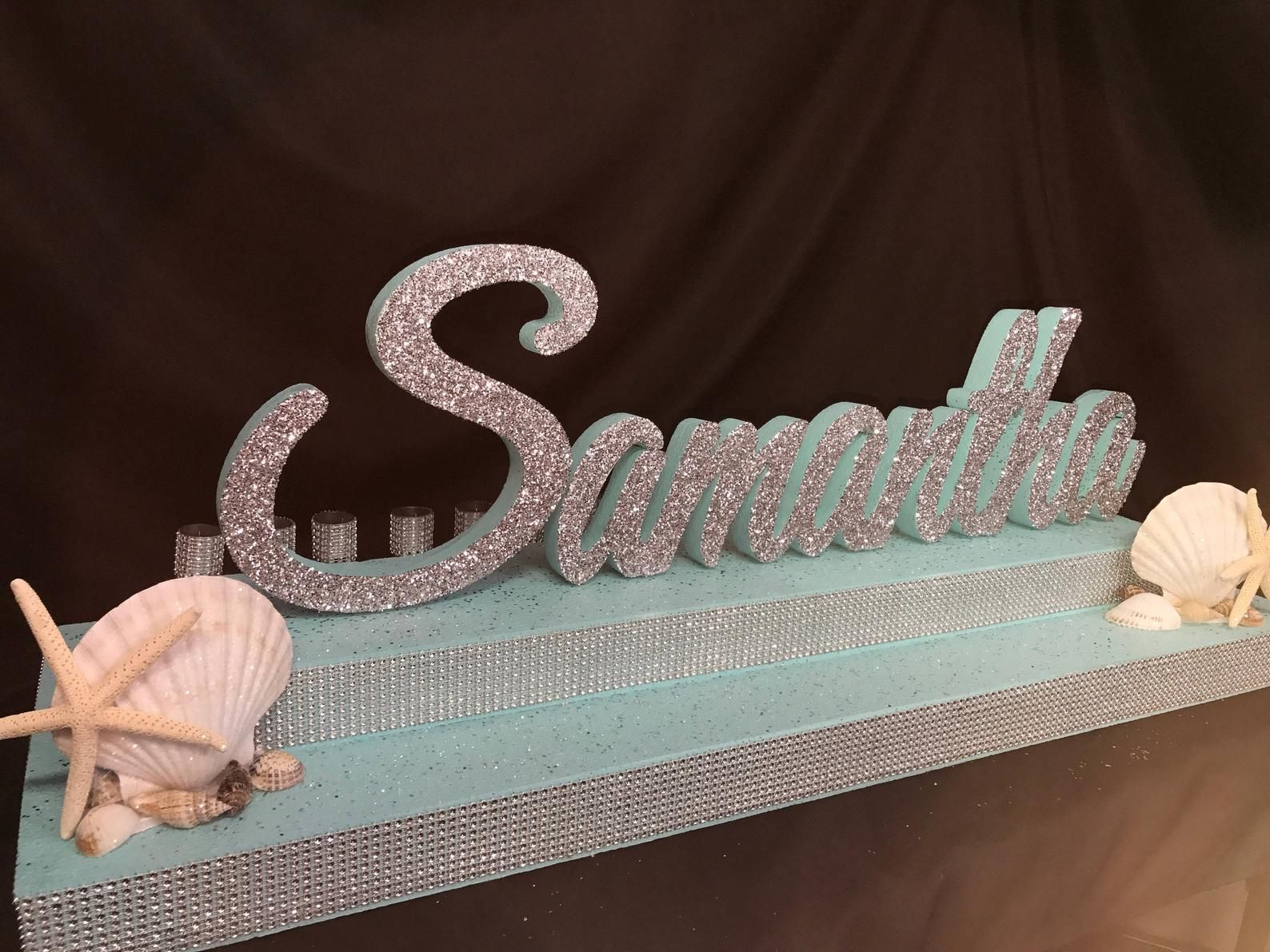 Under the sea, beach themed Sweet 16 Candelabra, Quinceanera & Mitzvah Candle Lighting Centerpiece - Two-Tier Size