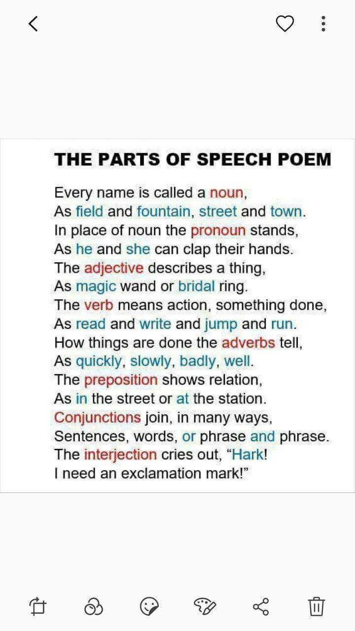 Parts Of Speech Poem Grammar And Writing Parts Of Speech Poem Teaching Grammar Teaching Writing