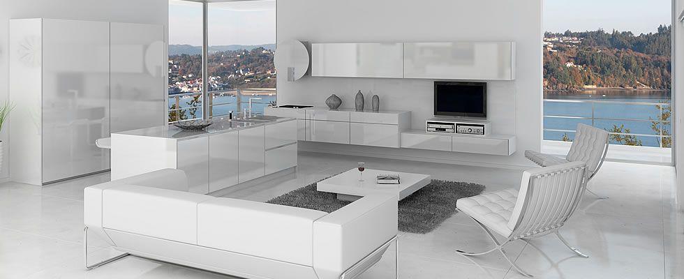 cocina minimalista en color blanco cocinasminimalistas cocinas - Cocina Minimalista