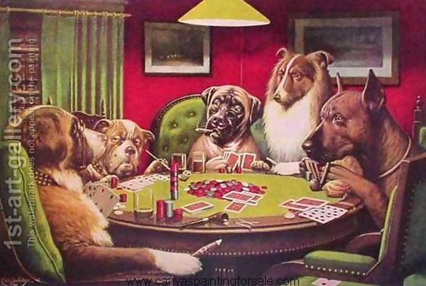 Dogs Playing Poker Painting By Cassius Marcellus Coolidge Reproduction 1st Art Gallery Dog Paintings Dog Art Dogs Playing Poker