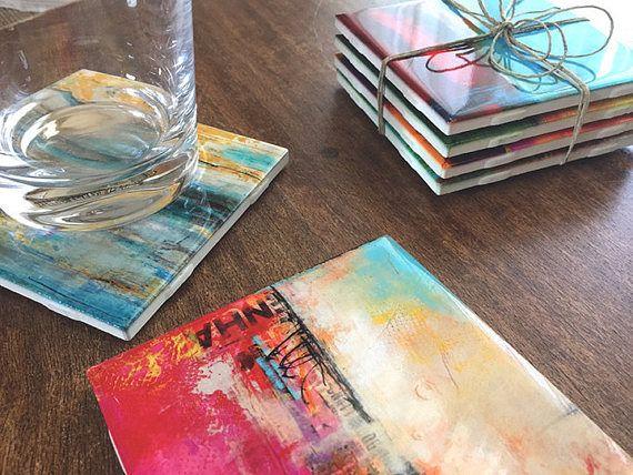 Posavasos de arte abstracto arte en azulejo decoración casa