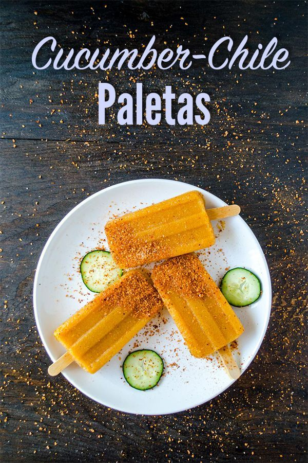 Homemade Cucumber-Chile Paletas, these Mexican popsicles are sweet, spicy and tangy. They are completely healthy and a great way to use all of your summer fruit.