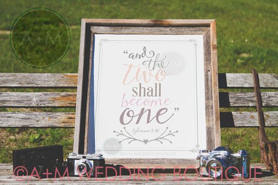 Wedding Sign Signage // Ephesians 5:31 // by AMWeddingBoutique