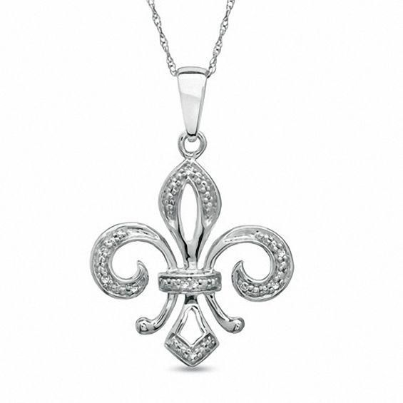 Zales Diamond Accent Palm Tree Pendant in 10K White Gold