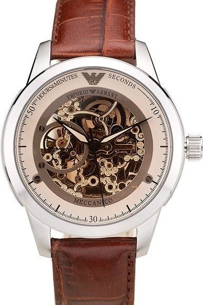 a03f325fb Buy Replica Emporio Armani Meccanico Open Dial Polished Stainless Steel  Bezel Watch With Brown Leather Strap