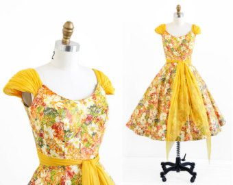 vintage 1950s dress / 50s dress / Marigolds Party Dress with Chiffon Sash