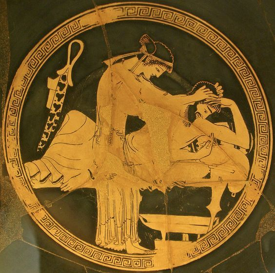 A hetaera attends to a vomiting drunk participant of a Greek symposium (drinking party).