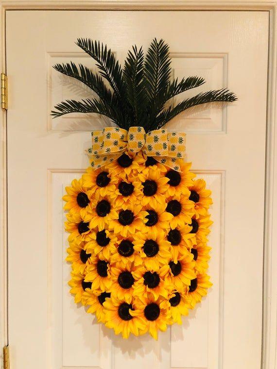 Photo of Ananas-Sonnenblumenkranz, Ananas-Kranz, Frühlingskranz, Sommerkranz, Fruchtkranz, Aloha-Kranz, Willkommenskranz, Hawaiianischer Kranz