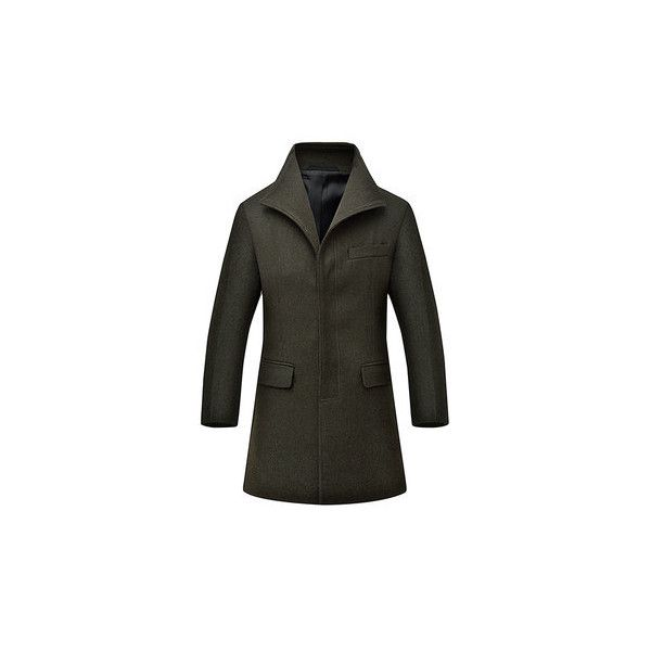 Mens Winter Extra Woolen Warm Coat Turndown Collar Slim Fit Long... (1,100 MXN) ❤ liked on Polyvore featuring men's fashion, men's clothing, men's outerwear, men's coats, army green, mens fur lined coat, mens single breasted wool coat, mens slim pea coat and mens coats