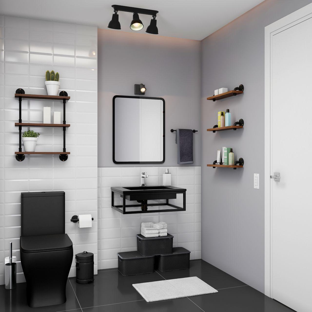 Imagem De Lavabo Preto Por Maria Helena Em My House Em 2020 Decoracao Banheiro Pequeno Banheiro Estilo Industrial