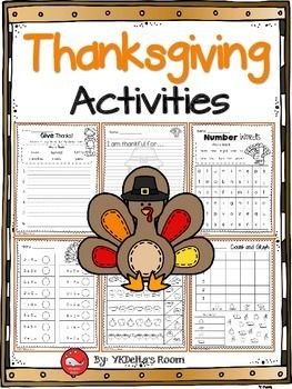 Thanksgiving ActivitiesHere are some of the printables included in this set:Give Thanks!I am thankful for (2 pages)Thanksgiving DinnerWhat Comes Next?Number WordsCounting with IndiansAddSubtractLet's CelebrateCount and GraphYou might also like:Skip Counting by 2s, 5s, and 10sCounting {up to 100}Subtraction with picturesAddition with picturesVenn Diagrams -Cut and PasteComparing Fractions - same denominatorNumber BondsNumber Bonds {Fall Theme}Number Line {Fall Theme}Number Line…