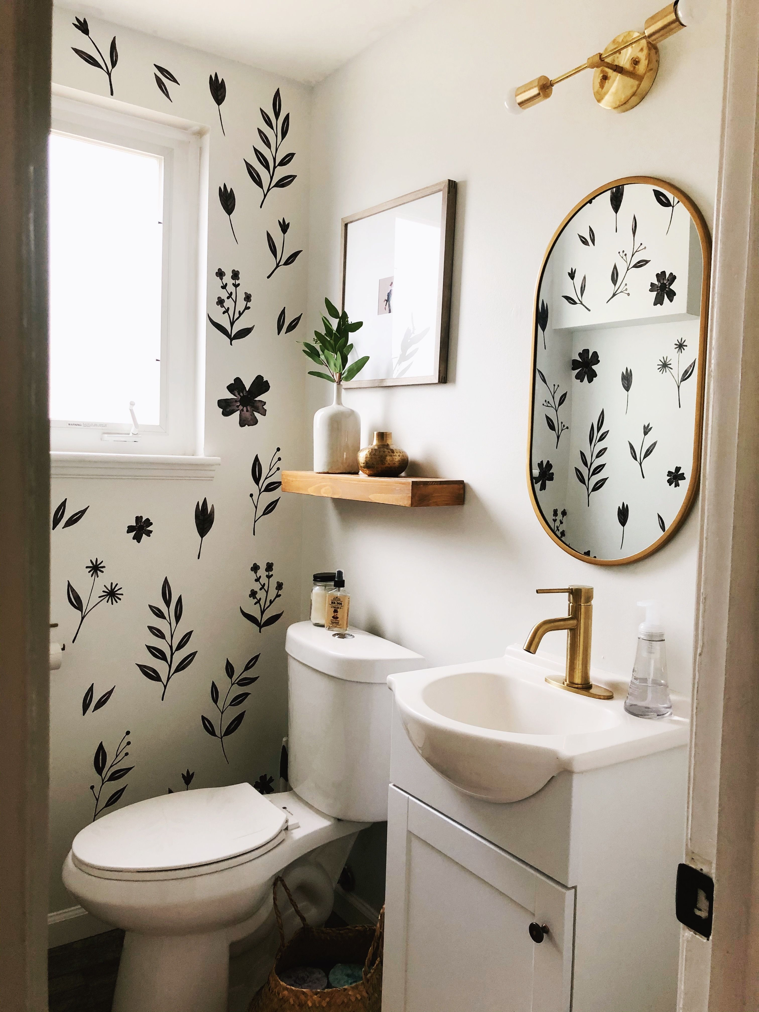Inked Florals in 9  Bathroom wall decals, Floral bathroom