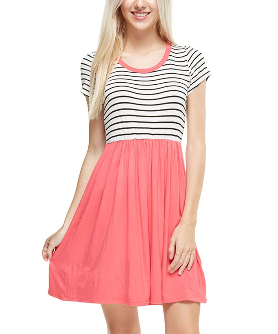Loving this Coral Stripe-Top Fit & Flare Dress on #zulily! #zulilyfinds
