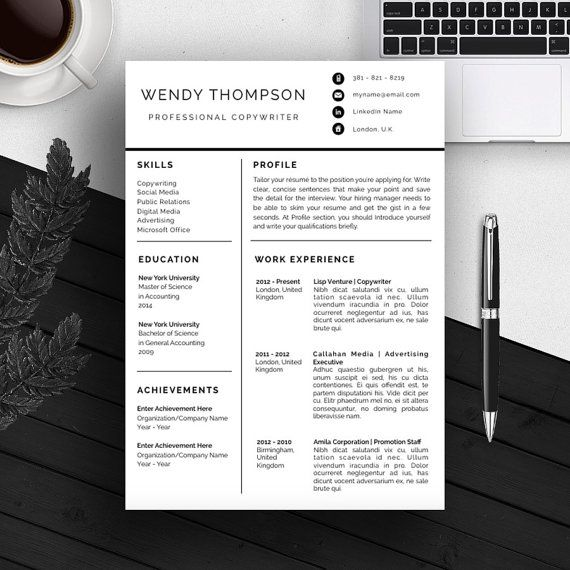 4-Page Professional Resume Template   A4 and US Letter   CV Template ...