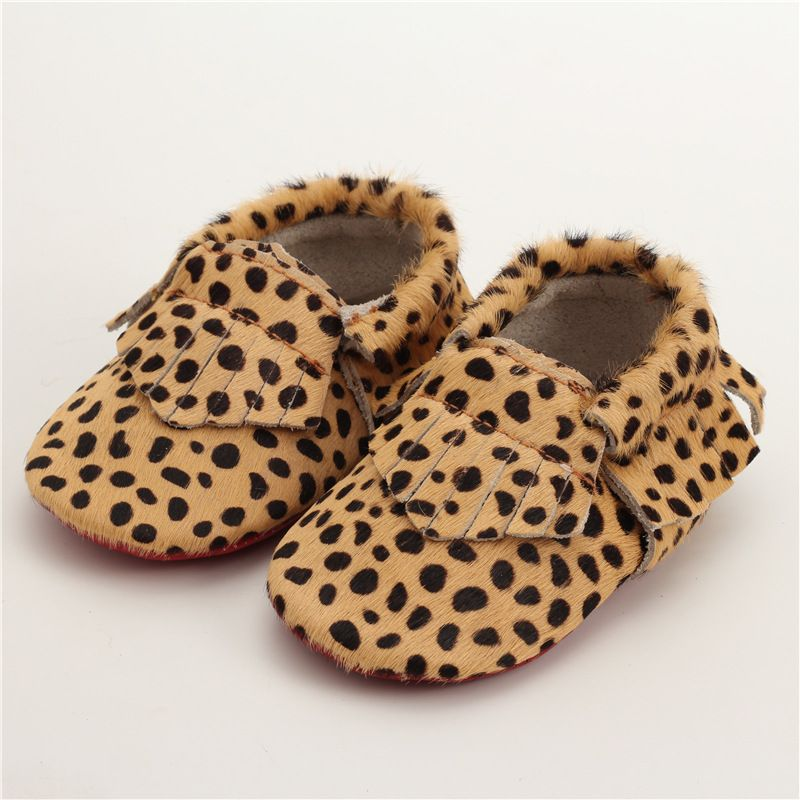 747e004d2b Genuine Leather First Walkers Leopard print Baby shoes Horse hair ...