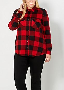Plus Red Buffalo Check Flannel Top