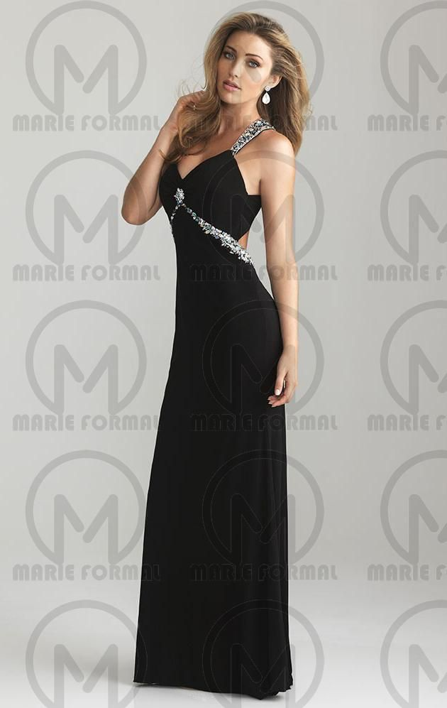 Beautiful Long Black Evening Formal Dress Sexy Open Back Formal