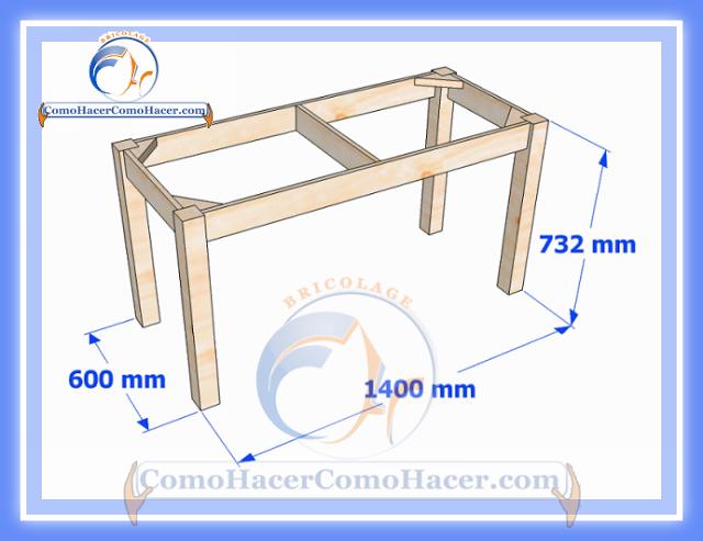 Plano de mesa de madera medidas web del bricolaje dise o for Mesas plegables salon diseno