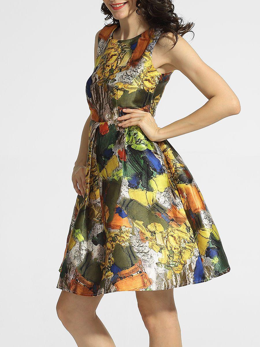 #AdoreWe #FashionMia Skater Dresses - FashionMia Round Neck Abstract Print Skater-dres - AdoreWe.com