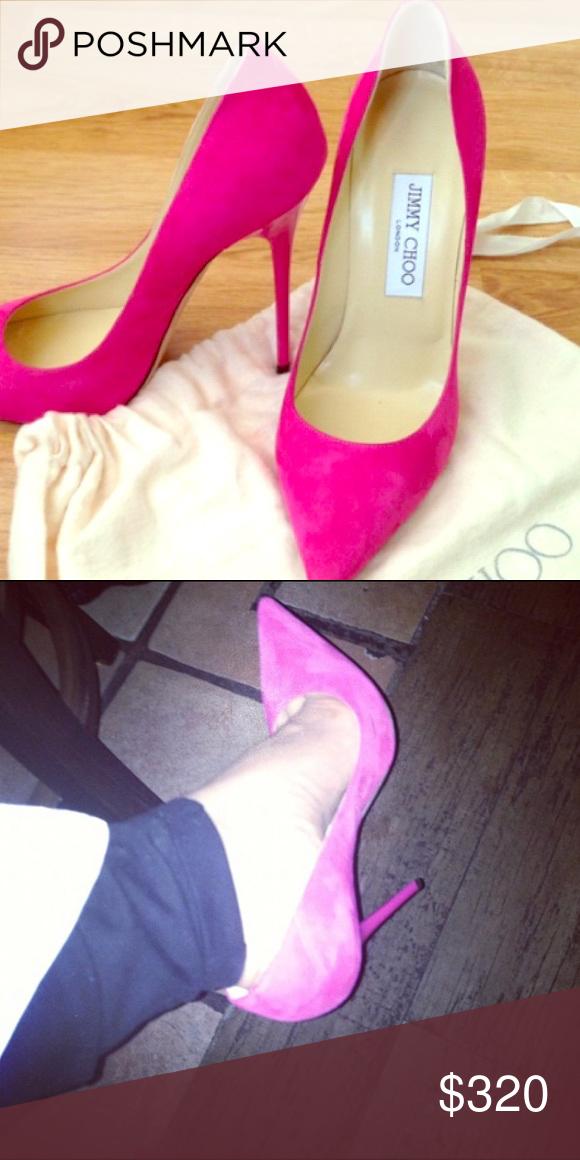 Pink Jimmy Choo Suede Pumps Jimmy Choo Pink Suede Pumps Fashion Heels