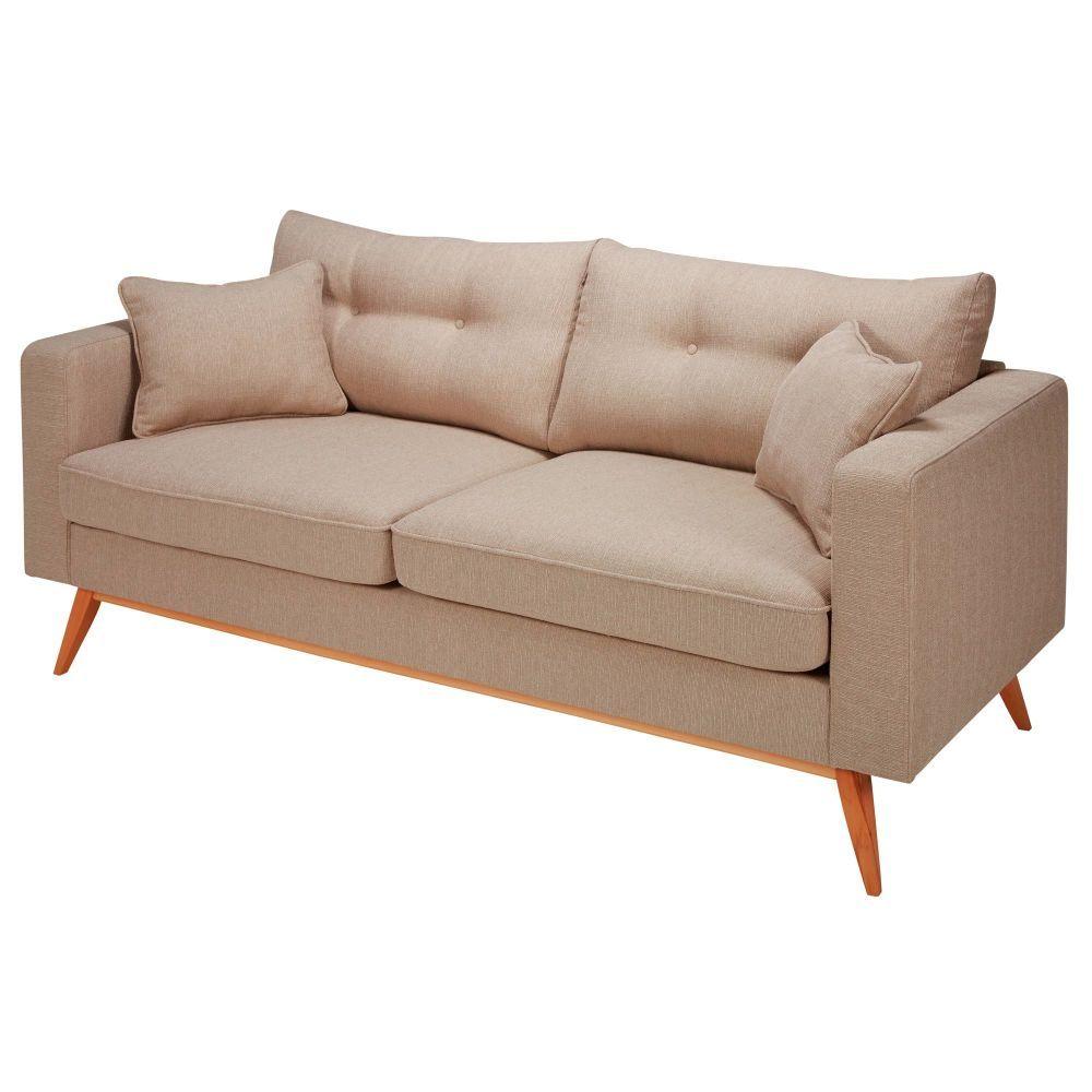 Skandinavisches 3 Sitzer Sofa Mit Beige Stoffbezug Beige Sofa Sofa Outdoor Sofa