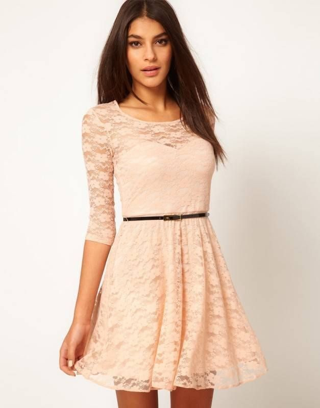 Free shipping, 2014 new arrive Sexy O Neck 3/4 Sleeve Belt Include Lace colorful Sakter Dress