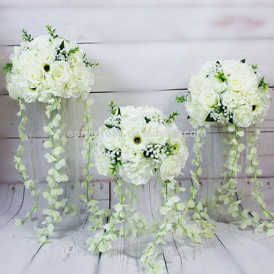 Spr Hot Sale Wedding Event Table Centerpiece Artificial Flower Ball With Hanging Vine For Party Backdrop Arra Wedding Flowers Event Table Backdrops For Parties