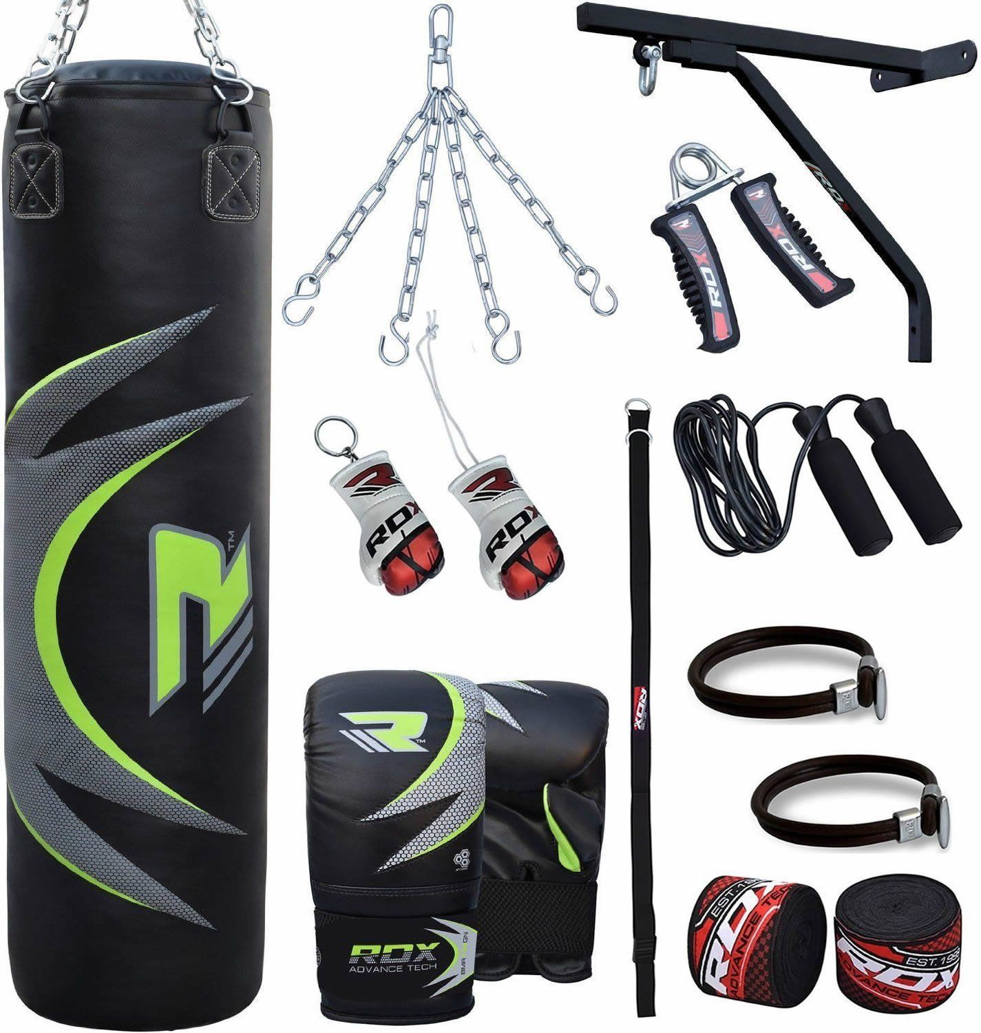 Martial Arts 4ft Filled Heavy Punch Bag Gloves,Chains,Bracket,Kick Boxing UFC