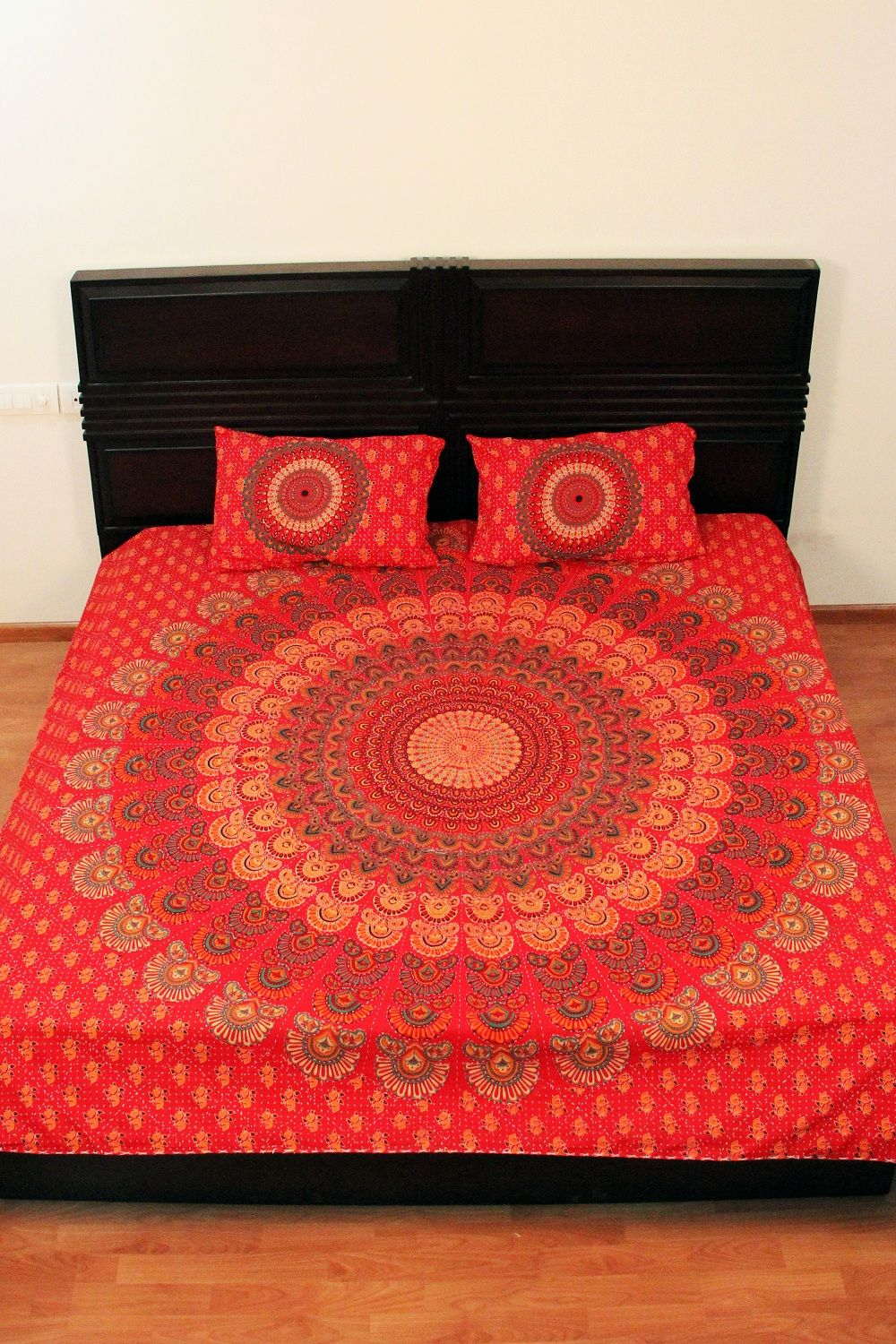 Indian Peacock Mandala Red Indian Quilt Printed Bed Sheet