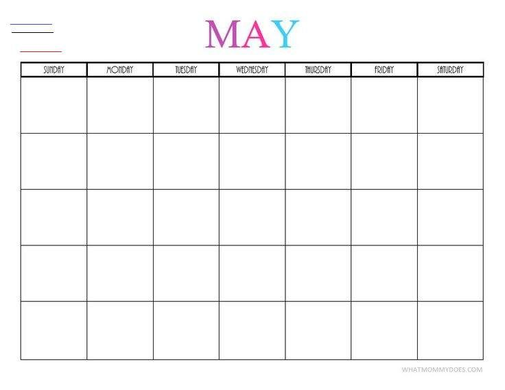 Free Printable Blank Monthly Calendars 2019 2020 2021 2022 I