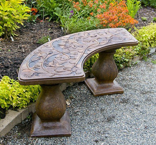 Hummingbird Bench Curved Concrete Garden Bench Wooden Garden Benches Unique Gardens