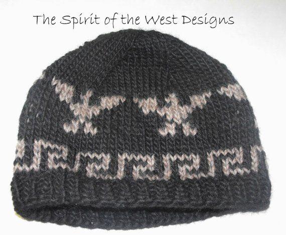 Knitting Pattern Cowichan Style Eagle Hat knit hat Toque Beanie Adult men  teen salish beanie cap eag e9fcc68710f