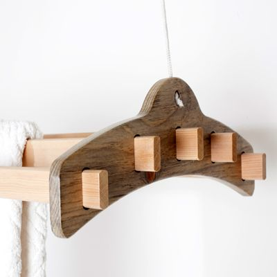 Wooden Laundry Drying System That Hangs From Your Ceiling
