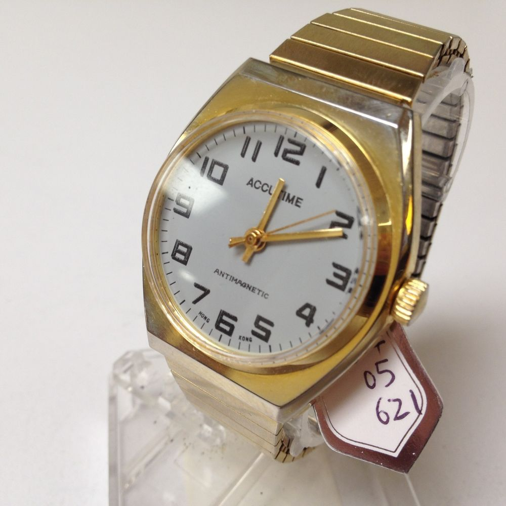 stunning vintage accutime gold tone mens wind up watch hours clock stunning vintage accutime gold tone mens wind up watch hours clock~run keep time