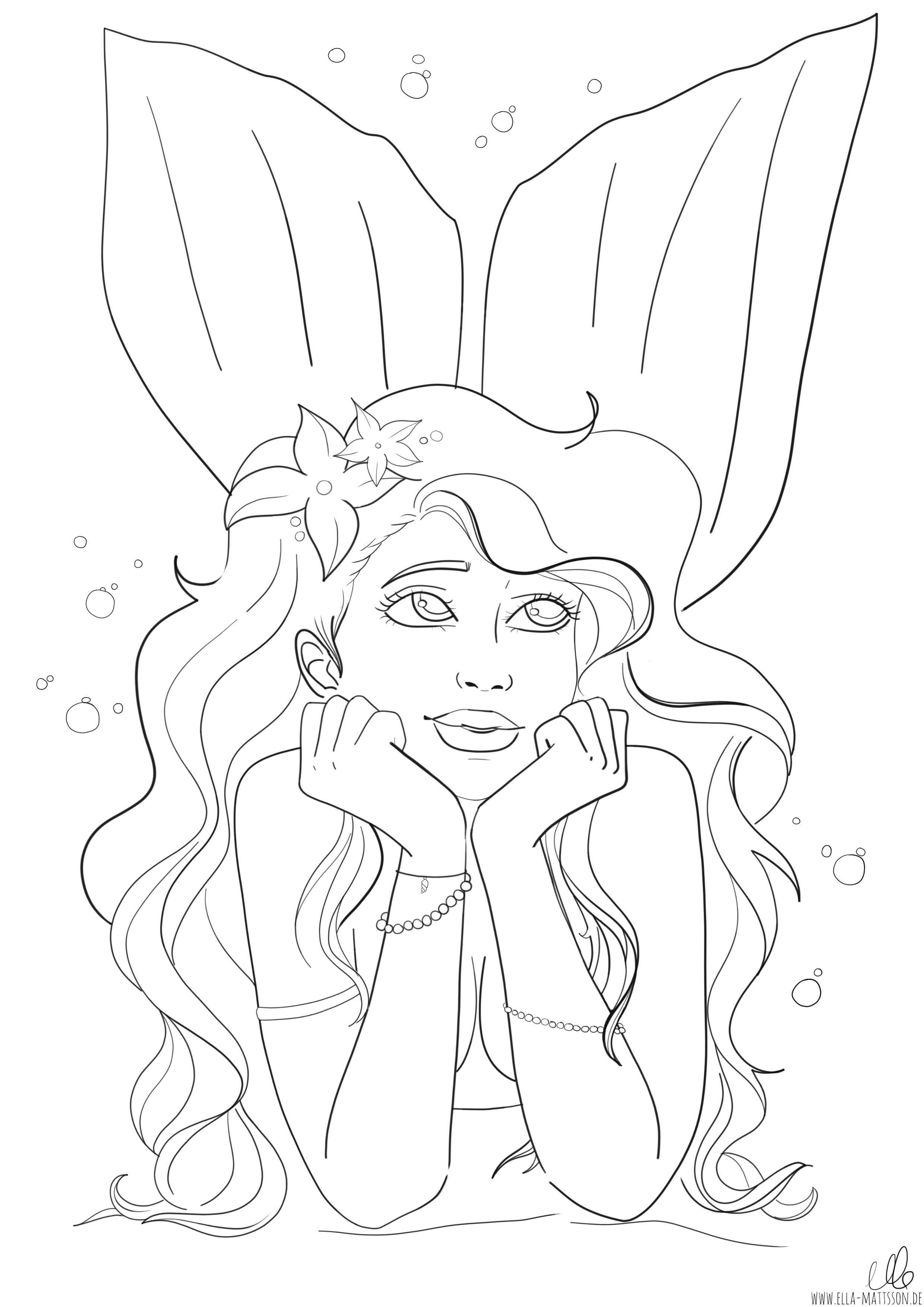 Meerjungfrau Ausmalbild coloring Wunderschöne