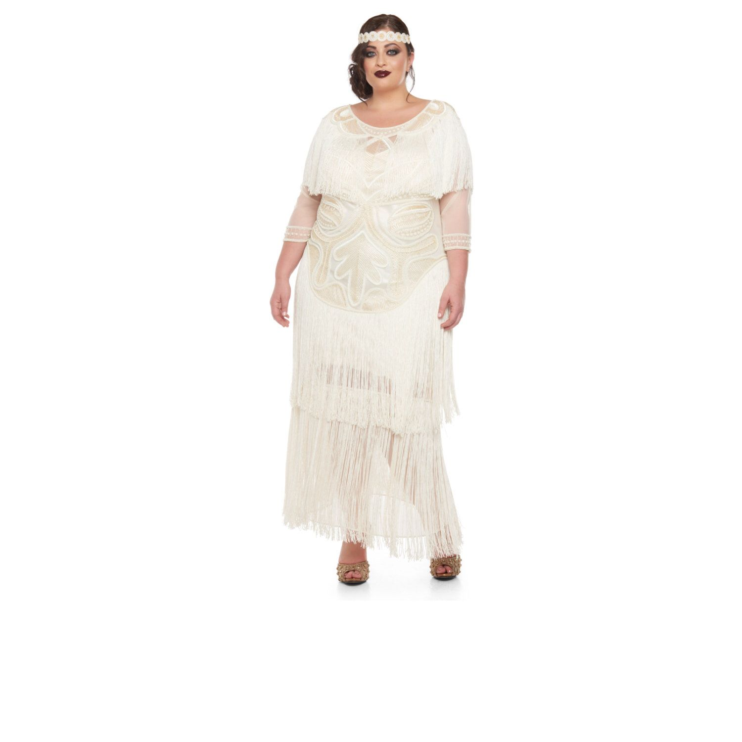 Plus Size Wedding Gown Cream Glam Prom Maxi Dress with Sleeves 20s ...