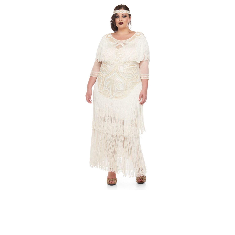 Plus Grosse Hochzeit Kleid Creme Glam Prom Maxi Kleid Mit Armeln 20er Jahre Grosse Gatsby Downton Abbey Braut Dusche Hochzeit Empfang Strand Hochzeit Kleid Mit Armel Kleider Art Deco Kleid