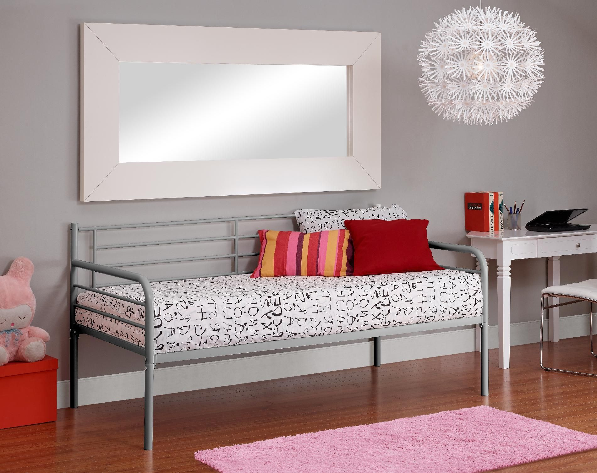 Metal Twin Daybed Silver Frame Guest Home Furniture Kids Bedroom