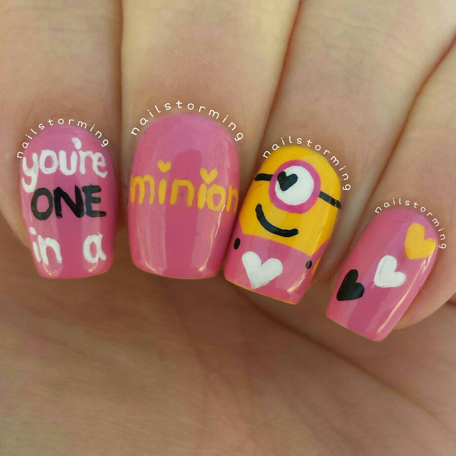 minion valentine nails | Things I love | Pinterest | Minion ...
