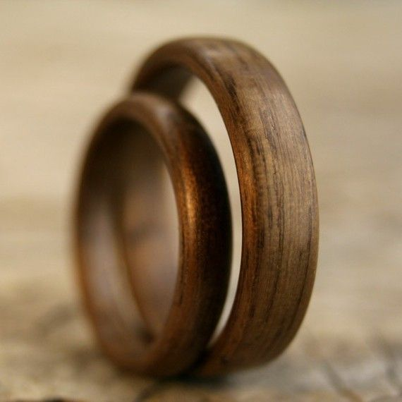SPECIAL PRICE Bentwood Ring Pair Walnut Wooden Ring Set