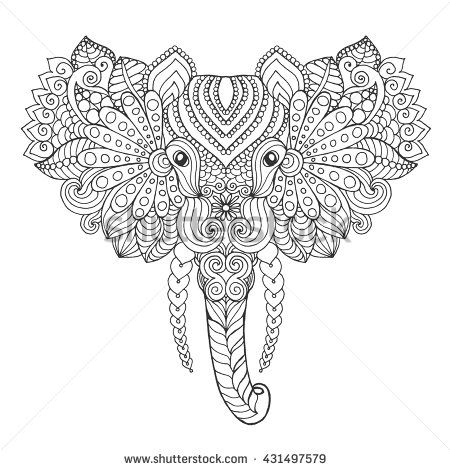 Indian Tribal Coloring Pages. Adult antistress coloring page  Black white hand drawn doodle animal Ethnic Elephant head