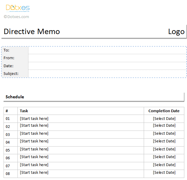 Directive Memo Template In A Table Format  Projects To Try