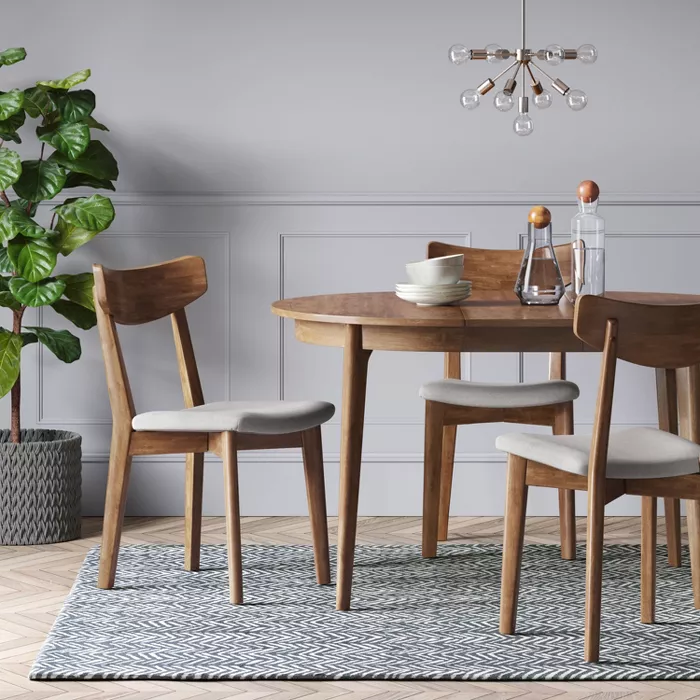 Astrid Mid Century Round Dining Table With Extension Leaf Brown Project 62 In 2020 Midcentury Modern Dining Table Round Kitchen Table Mid Century Round Dining Table
