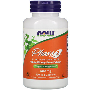 Now Foods Phase 2 Starch Neutralizer 500 Mg 120 Veg Capsules Now Foods Kidney Beans White Kidney Bean Extract